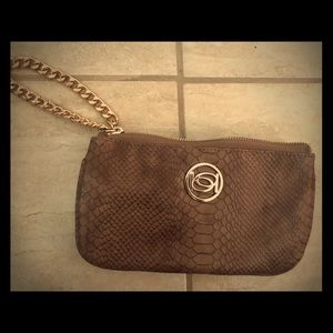 Bebe python print clutch. Metal chain handle